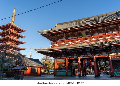TOKYO, JAPAN - NOVEMBER 15, 2018: Day scene of red pagoda at Sensoji temple. Sensoji temple is the most famous temple in Asakusa, Tokyo prefecture, Japan