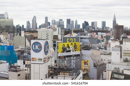 TOKYO, JAPAN - NOVEMBER 16, 2016. Skyline view of Shibuya in Tokyo.The area is known as one of the fashion centers of Japan, particularly for young people, and as a major nightlife area.