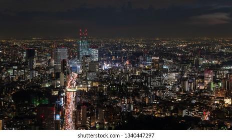 TOKYO, JAPAN - NOVEMBER 16, 2018: Aerial view of night scene of Tokyo, Japan.