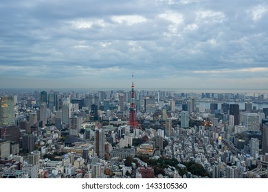 TOKYO, JAPAN - NOVEMBER 16, 2018: Evening scene of Tokyo Tower with Tokyo skyline