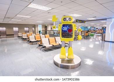 TOKYO, JAPAN - November 16 2018: Airport ground handing operations on tarmac in Taipei SongShan Airport