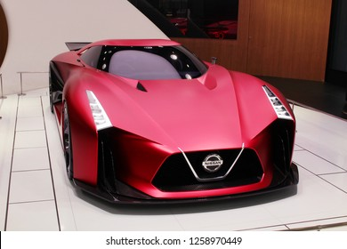 TOKYO, JAPAN - November 17, 2018: A Nissan Concept 2020 Vision Gran Turismo at the Nissan Crossing showroom in Ginza Place.