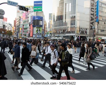 TOKYO, JAPAN - NOVEMBER 18, 2016. Shibuya Crossing in Tokyo. Shibuya crossing is one of busiest places in Tokyo and one of the most popular meeting points in the city.