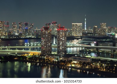Tokyo, JAPAN - November 19 ,2017 : See night cityscape from Fuji TV Building at Odaiba in sunset.