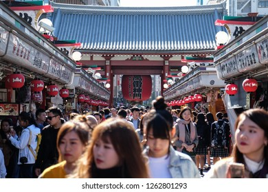 Tokyo, Japan - November 2, 2018: Visitors walk at Asakusa's Sensoji Temple.