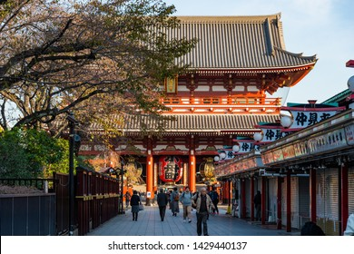 TOKYO, JAPAN - NOVEMBER 20, 2018: Day scene of Sensoji temple with crowded tourist. Sensoji temple is the most famous temple in Asakusa, Tokyo prefecture, Japan