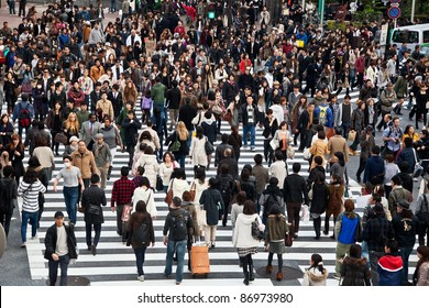TOKYO, JAPAN - NOVEMBER 20: Unidentified pedestrians at Shibuya crossing on November 20, 2010 in Tokyo, Japan. The famous scramble crosswalk is used by over 2.5 million people daily.