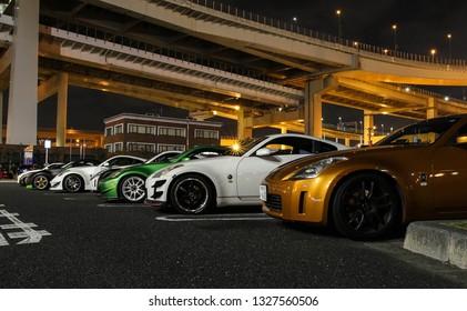 Tokyo, Japan - November 2017: Car meeting at Daikoku Futo.