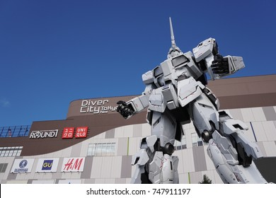 TOKYO, JAPAN - November 2017,   : New full scale 1/1 RX-0 Unicorn Gundam Mobile Suit replica or statue at Diver City, Odaiba.