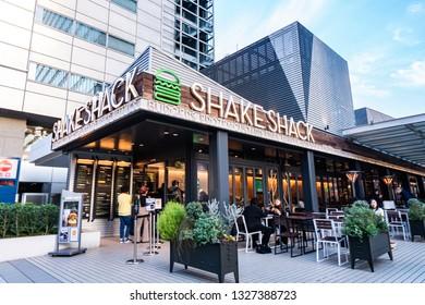 TOKYO, JAPAN - November 21, 2018: A Shake Shack fast food restaurant in Roppongi in central Tokyo.