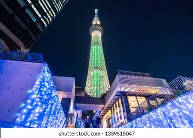 TOKYO, JAPAN - November 22, 2018: Tokyo Skytree, Sumida Ward Urban night scene.Tokyo Skyline with SkyTree at night.