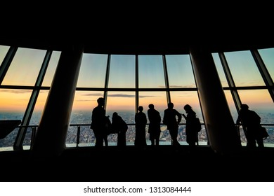 Tokyo, Japan - November 22, 2018:tourists at Tembo Deck observation deck. The Tokyo Skytree is a television broadcasting tower and landmark of Tokyo. Concept of travel and asian metropolis.