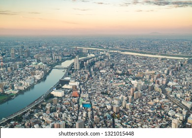 Tokyo, Japan - November 22, 2018:View of downtown cityscape and sky tree in tokyo, Japan.