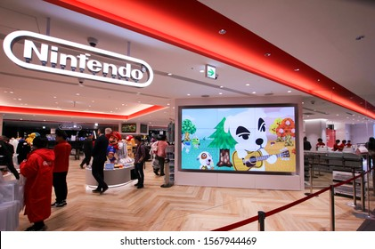 Tokyo, Japan - November 22, 2019- Entrance Area of the newly opened Nintendo Store in the Parco shopping center in Shibuya