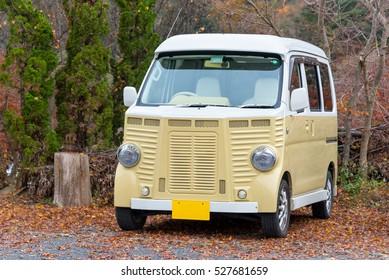 TOKYO, JAPAN : November 23, 2016 : DAIHATSU ATRAI Classic micro van the beautiful vintage car style at Kawaguchiko lake,Japan.