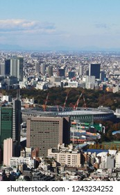 TOKYO, JAPAN - November 23, 2018: Overhead view of Tokyo's skyline from Roppongi Hills including the under-construction National Stadium which will be used for the 2020 Olympics.