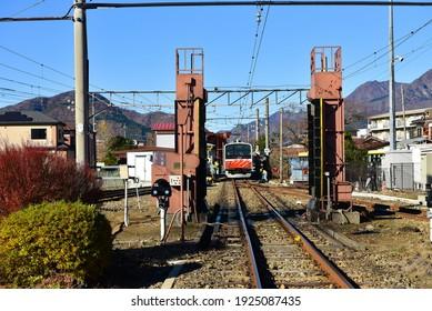 Tokyo japan November 23 2018 Unidentified Electric train station  from Tokyo to Fuji san mountain  and street views. Fuji mountain of japan famous landmark travel.