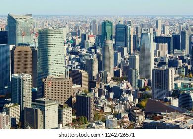 TOKYO, JAPAN - November 23: View of Tokyo's skyline seen from Roppongi Hills.