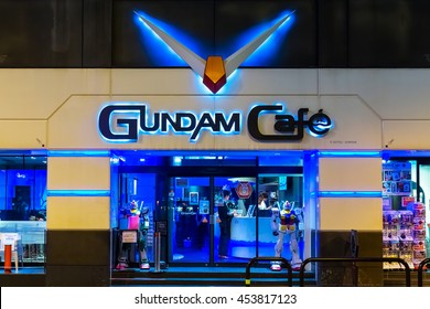 TOKYO, JAPAN - NOVEMBER 25 2015: Opened in 2010, Gundam Cafe is a miniature Gundam theme park-like cafe situated in Akihabara Electric Town