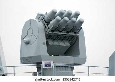 Tokyo, Japan - November 28, 2007:People's Liberation Army Navy HQ-7 short range air defense missile launcher on PLANS Shenzhen (DDG-167).