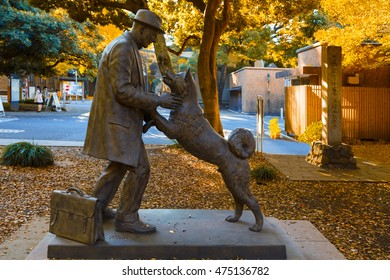 TOKYO, JAPAN - NOVEMBER 28 2015: Hachiko with Dr. Hidesaburo statue at Tokyo University, Todai campus, the dog is remarkable loyalty to his owner which continued for ten years after his owner's death