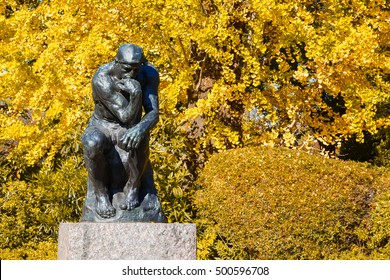 TOKYO, JAPAN - NOVEMBER 29 2015: National Museum of Western Art is the premier public art gallery, specializing in Western traditional art, located in museum and zoo complex in Ueno Park