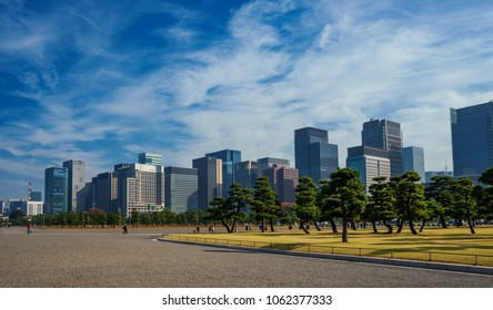 TOKYO, JAPAN - NOVEMBER 4, 2017: Tall modern buildings and offices in Chiyoda Area in Central Tokyo, seen from Imperial Palace Outer Gardens