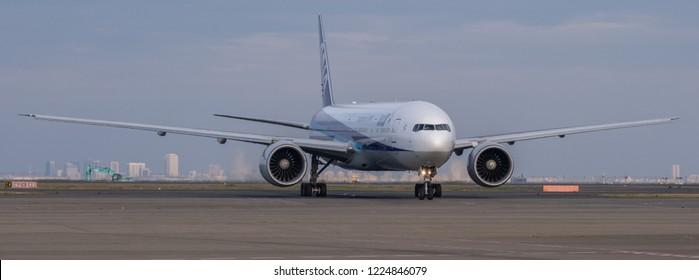 TOKYO, JAPAN - NOVEMBER 7TH, 2018. Air Nippon Airways or ANA plane at Haneda International Airport.