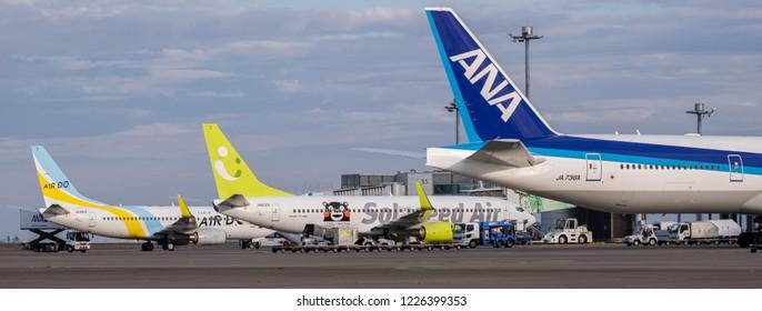 TOKYO, JAPAN - NOVEMBER 7TH, 2018. Solaseed, Air Do and Air Nippon Airways air plane tail at Haneda International Airport.