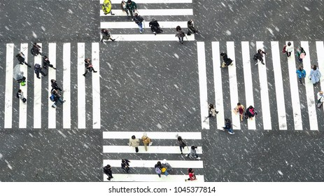 TOKYO, JAPAN - OCT 2017:Top view of Undefined Japanese people crowd are walking to crosses the street between the buildings of Shinjuku JR station which is district on October 28, 2017 in Tokyo,Japan.