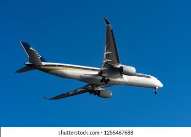 TOKYO, JAPAN - OCT. 7, 2018: Singapore Air Airbus A350-900 landing to the Haneda International Airport in Tokyo, Japan.