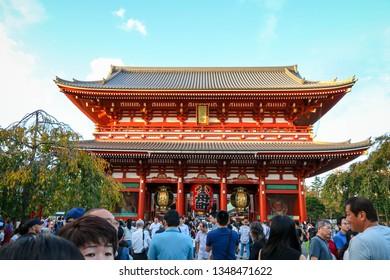 TOKYO, JAPAN - OCT 8,2018 : Crowded people visiting to the Sensoji Asakusa Temple. The Sensoji temple in Asakusa area is the oldest temple in Tokyo, Japan