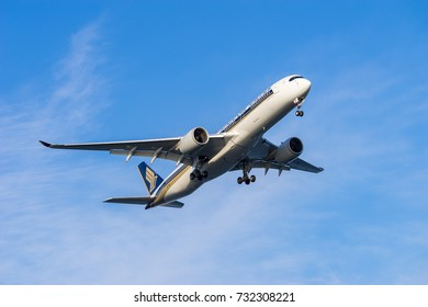 TOKYO, JAPAN - OCT. 9, 2017: Airbus A350-900 landing to the Haneda International Airport in Tokyo, Japan.
