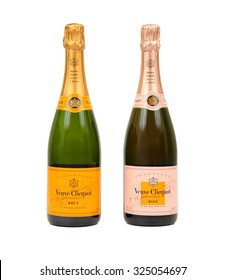 TOKYO, JAPAN - OCTOBER 06, 2015: A photo of two bottles of Veuve Clicquot champagne. From left to right are: Veuve Clicquot Brut and  Rose. Veuve Clicquot is a French champagne house based in Reims.