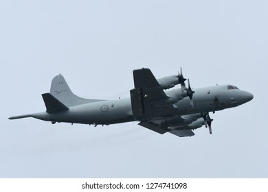 Tokyo, Japan - October 06, 2018: Royal Australian Air Force AP-3C Orion Anti-submarine patrol aircraft takes off at Yokota AB.