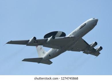 Tokyo, Japan - October 06, 2018: United States Air Force E-3C Sentry takes off at Yokota AB.