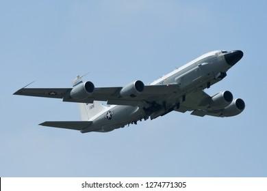 Tokyo, Japan - October 06, 2018: United States Air Force RC-135W Rivet Joint takes off at Yokota AB.