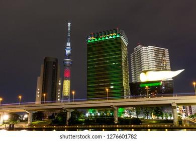 TOKYO ,JAPAN - OCTOBER 11: Tokyo skytree tower in Japan at night light, OCT 11,2016, Tokyo, Japan.  Tokyo skytree tower in Japan at twilight and building