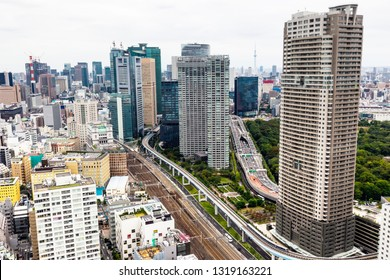 TOKYO ,JAPAN - OCTOBER 11: Tokyo skytree tower in Japan with road and building, OCT 11,2016, Tokyo, Japan. Tokyo skytree tower in Japan