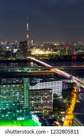 TOKYO ,JAPAN - OCTOBER 12: Tokyo skytree tower in Janpan at twilight, OCT 12,2016, Tokyo, Japan.  Tokyo skytree tower in Janpan at twilight and building