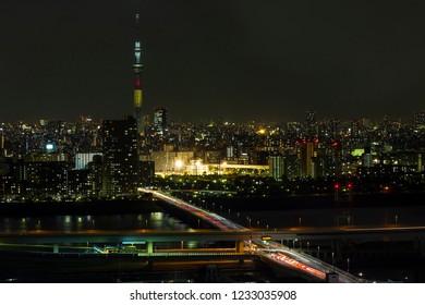 TOKYO ,JAPAN - OCTOBER 12: Tokyo skytree tower in Janpan at night light, OCT 12,2016, Tokyo, Japan.  Tokyo skytree tower in Janpan at twilight and building