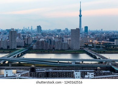 TOKYO ,JAPAN - OCTOBER 12: Tokyo skytree tower in Janpan in evening, OCT 12,2016, Tokyo, Japan.  Tokyo skytree tower in Janpan at twilight and building