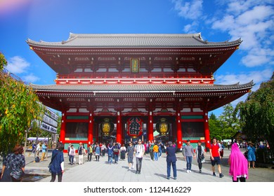 TOKYO, JAPAN - October 13, 2016: Sensoji Temple in Tokyo on October 13, 2016. Asakusa Temple is one of Tokyo Landmark and it's the most significant Buddhist temples located in Asakusa area.