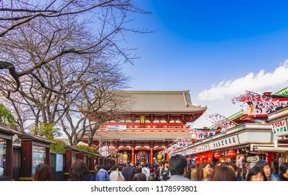 TOKYO, JAPAN - October 13, 2016: Sensoji Temple in Tokyo on March 21, 2016. Asakusa Temple is Tokyo's oldest Buddhist temple located in Asakusa, Tokyo, Japan.