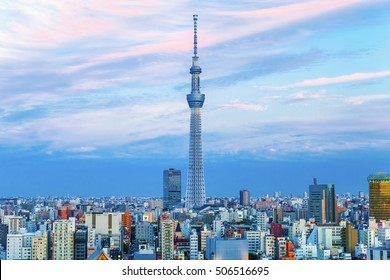 Tokyo, Japan - October 13, 2016: Tokyo Sky Tree, the highest free-standing structure in Japan, view of Tokyo skyline.