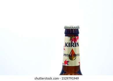 Tokyo, Japan - October 13, 2019: Bottleneck of a Kirin Ichiban beer bottle.