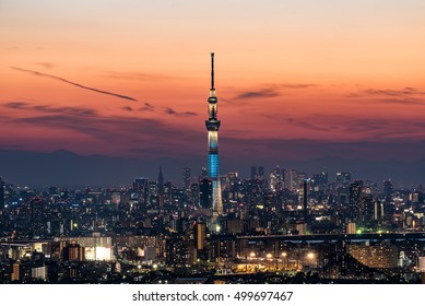 TOKYO, JAPAN - October 15th, 2016 : Tokyo Skytree at dusk. Tokyo Skytree is a broadcasting tower and the tallest structure in Japan.