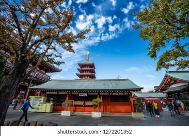 TOKYO, JAPAN - October 17, 2018: Sensoji temple in Tokyo or Asakusa temple is a Tokyo's oldest buddhist temple located in Asakusa, Tokyo, Japan.