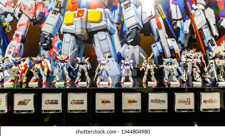 "Tokyo, Japan - October 18, 2018: The display of plastic model Mobile Suit Gundam in Gundam shopping center called ""THE GUNDAM BASE"" at Odaiba City in Tokyo, Japan."