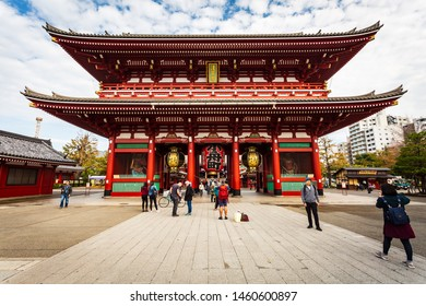 Tokyo, Japan - October 18, 2018: Tourist visit Sensoji, also known as Asakusa Kannon Temple is a Buddhist temple located in Asakusa. It is one of Tokyo's most colorful and popular.